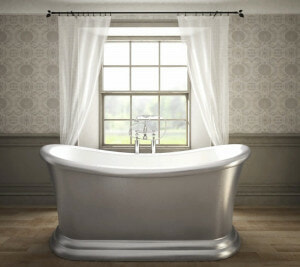 silver freestanding bath