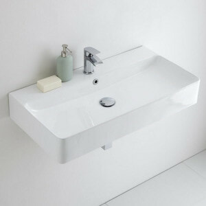 Rectangular wall hung basin for cloakrooms