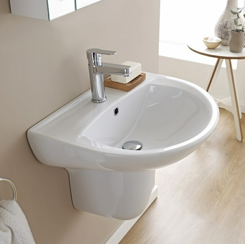 Wall hung basin with semi pedestal and mono tap