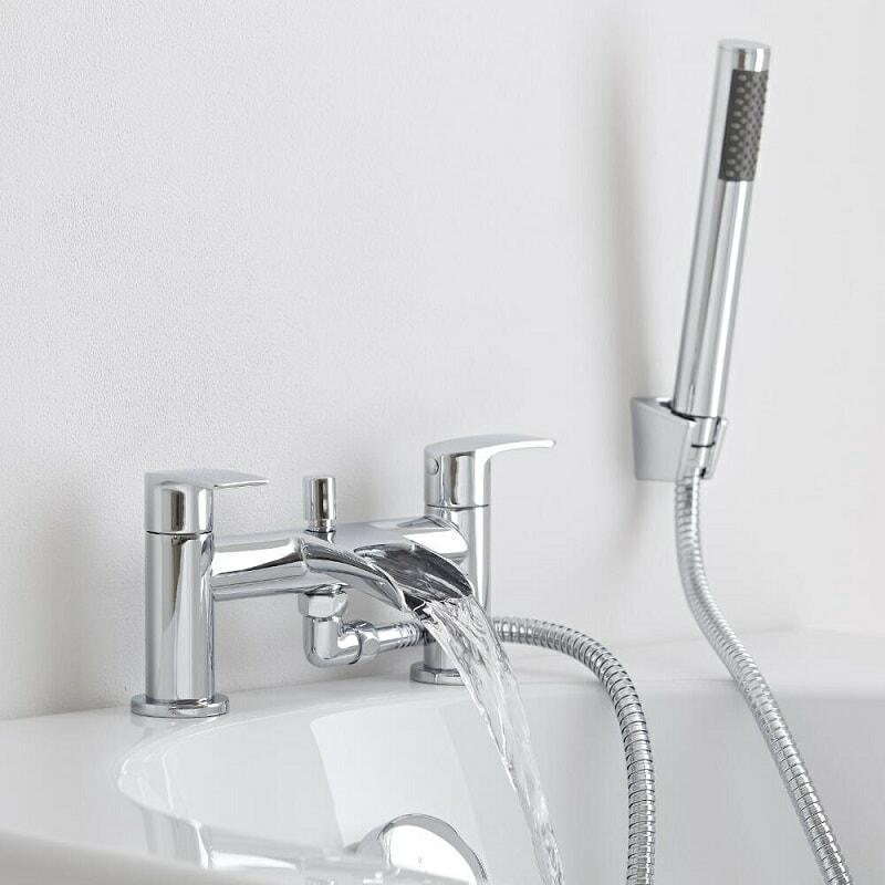 Waterfall bath mixer tap with modern hand shower