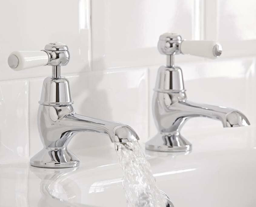 traditional bath taps with white lever handles