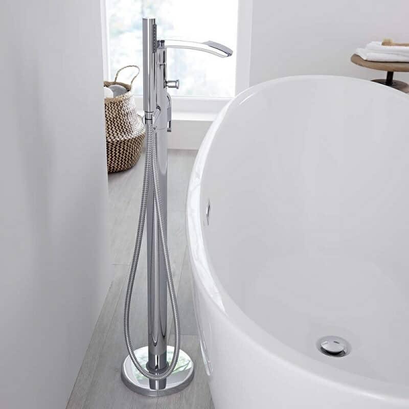Modern chrome freestanding bath tap with hand shower