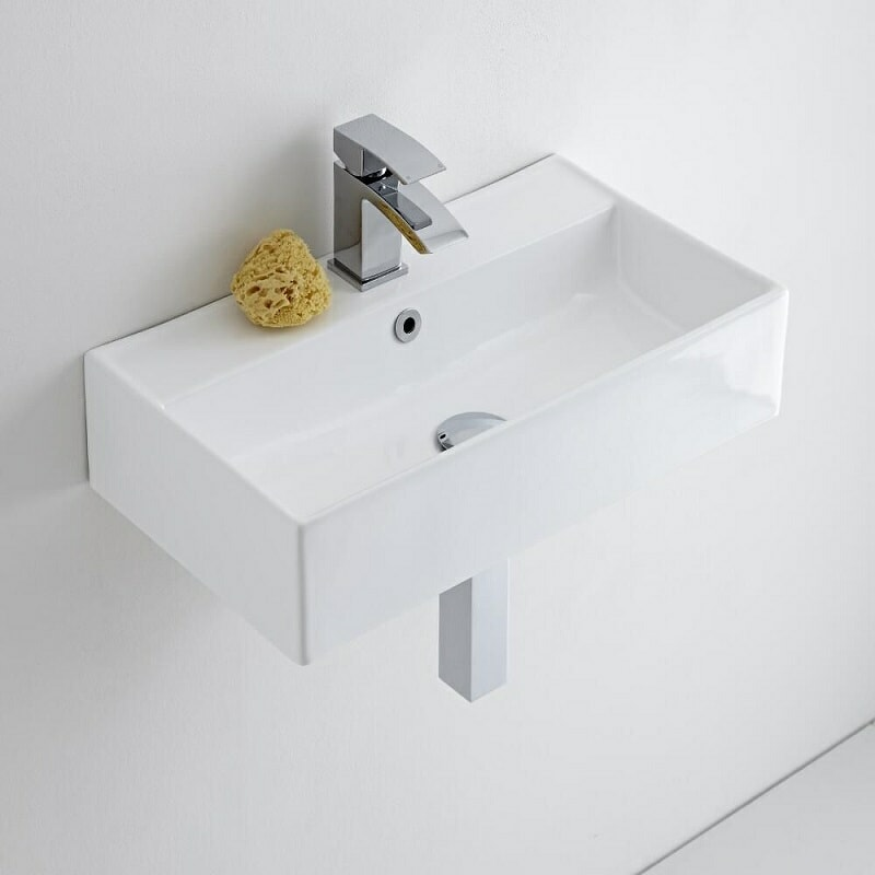 Rectangular wall hung cloakroom basin and mono tap