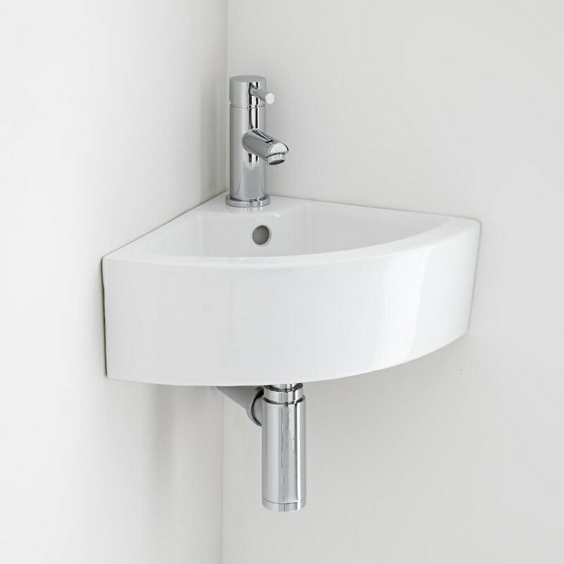 Wall hung corner basin with mono tap for cloakrooms