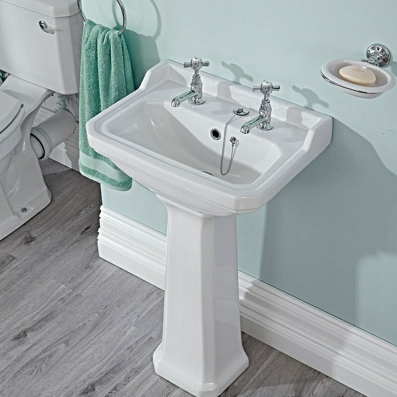 traditional basin with taps