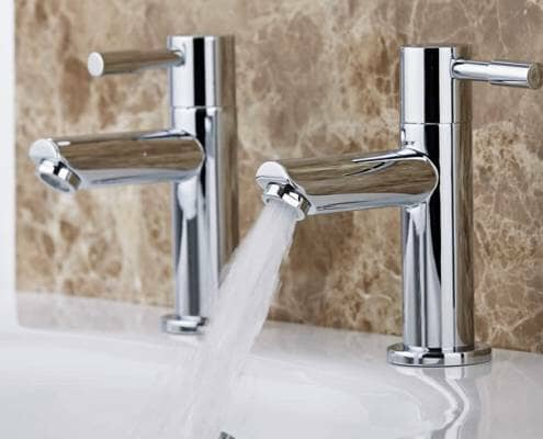 Hot and cold tap - one is off and one has water running