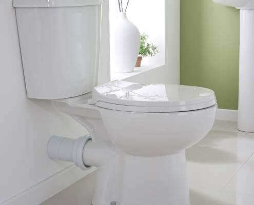 modern close coupled toilet side view