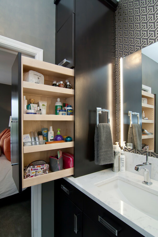 pull out bathroom storage