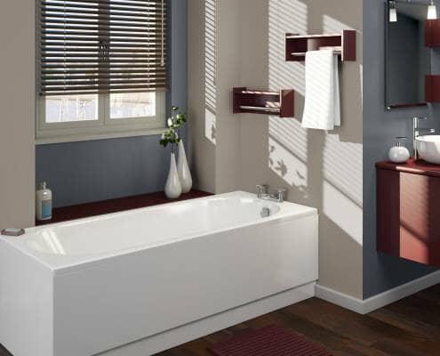 straight bath in a modern bathroom