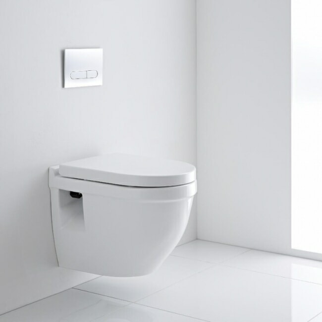 White wall hung modern toilet