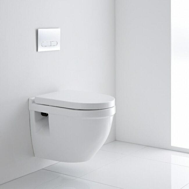 White wall hung modern toilet