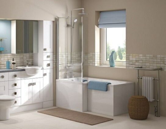 modern bathroom suite with integrated storage