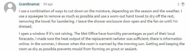 bathroom condensation comment