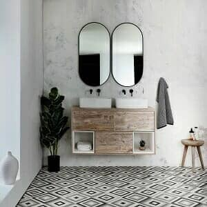 A wall hung vanity unit in a modern bathroom space