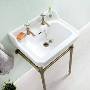 an overhead look at a small washbasin vanity unit