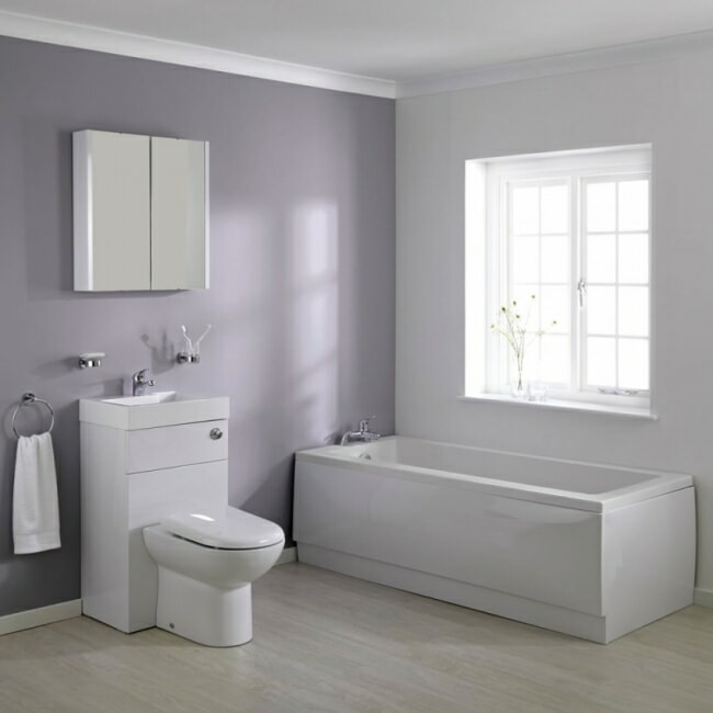 small bathroom suite with bath and toilet and basin combination unit