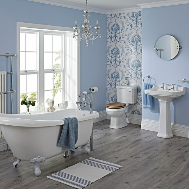 traditional bathroom suite with slipper bath