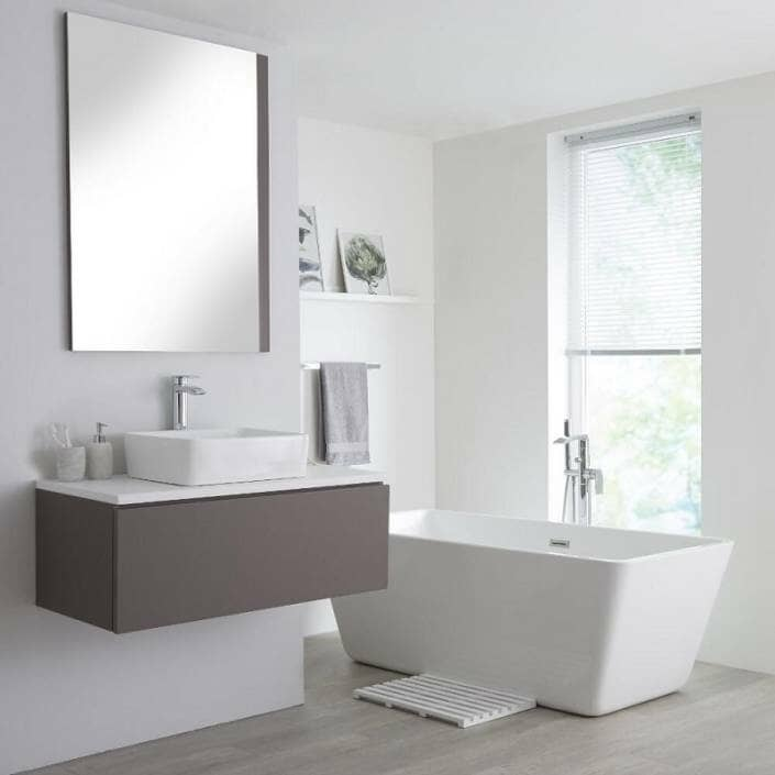 grey vanity unit with counter top basin and tap