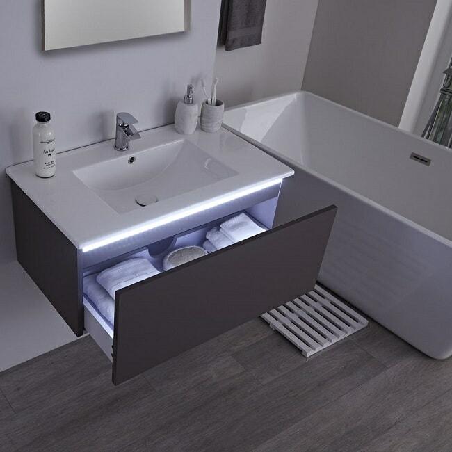 vanity unit with drawer light