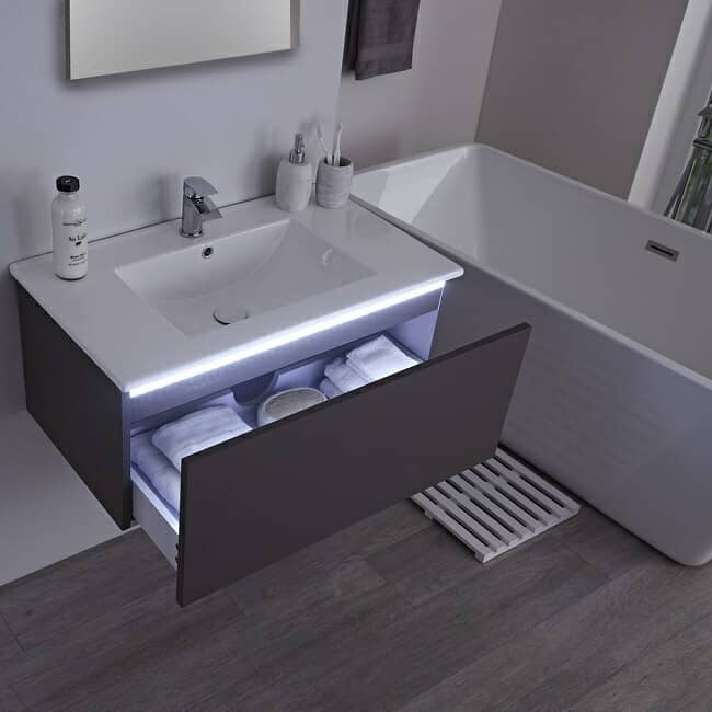 vanity unit with drawer light