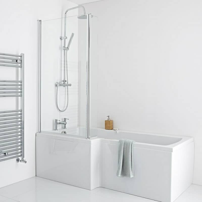 White rectangular shower bath with glass shower panel and shower kit