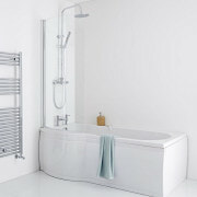 White curved shower bath with glass shower panel and shower kit