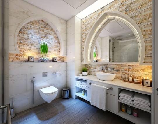Indian arch bathroom mirror in Indian inspired bathroom