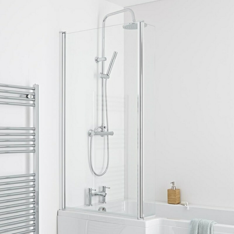 White shower bath with glass shower panel and shower kit - closeup on shower screen