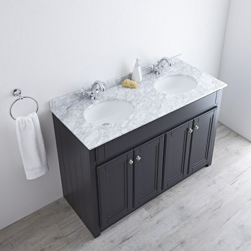 Marble topped double floor standing vanity unit in Grey and white.