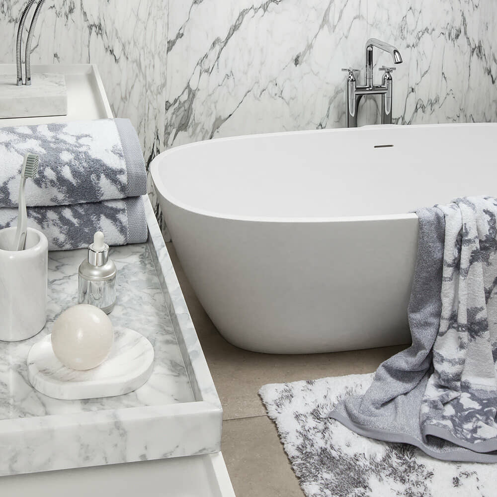Grey and white marble bathroom towels