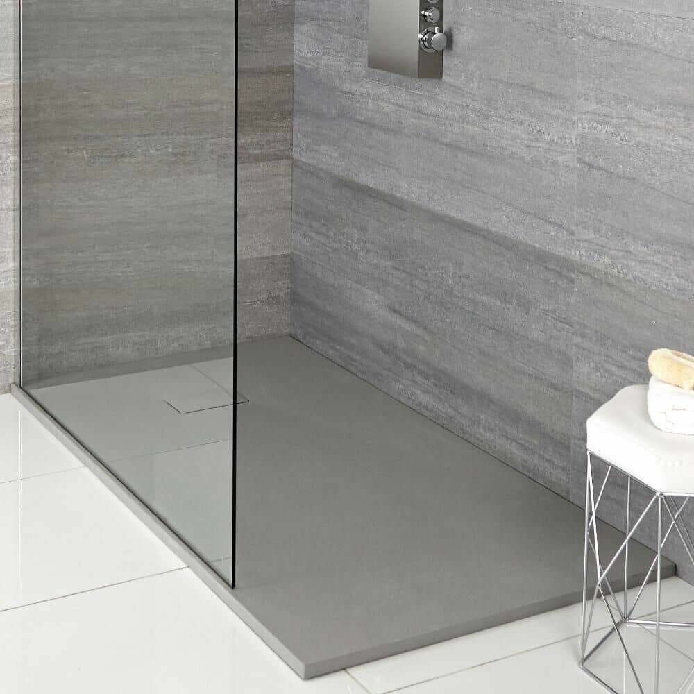 grey slate effect shower tray