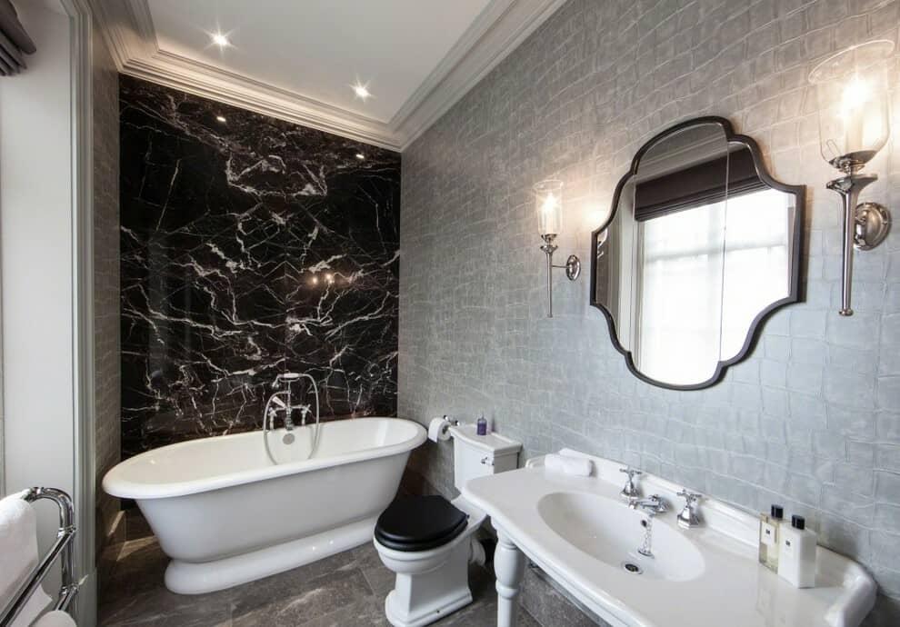 grey and black marble bathroom