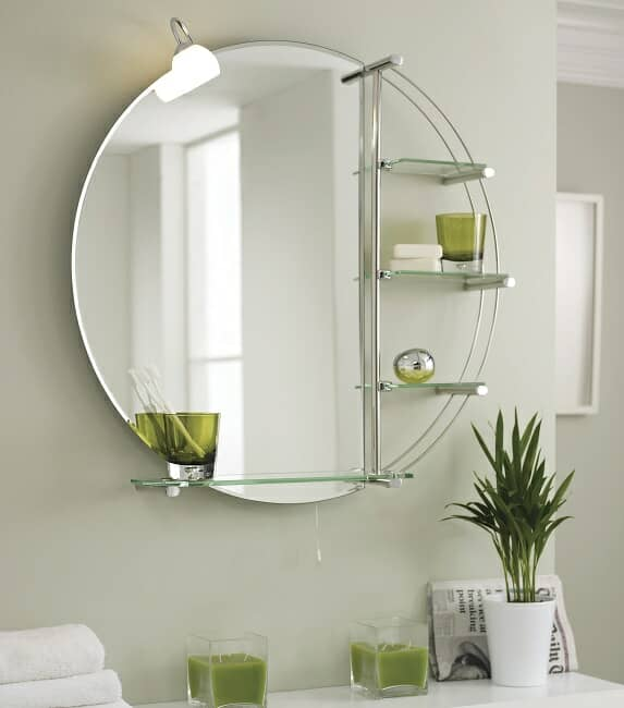 round bathroom mirror with shelves and light