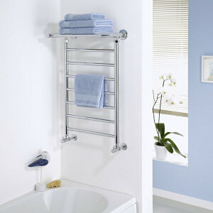heated towel rail with shelf