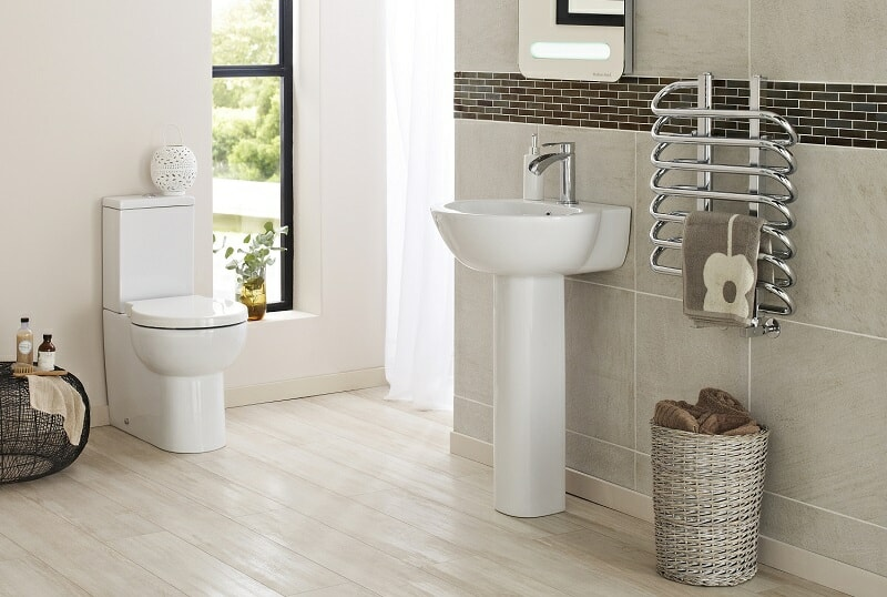 White modern floor standing basin and toilet set