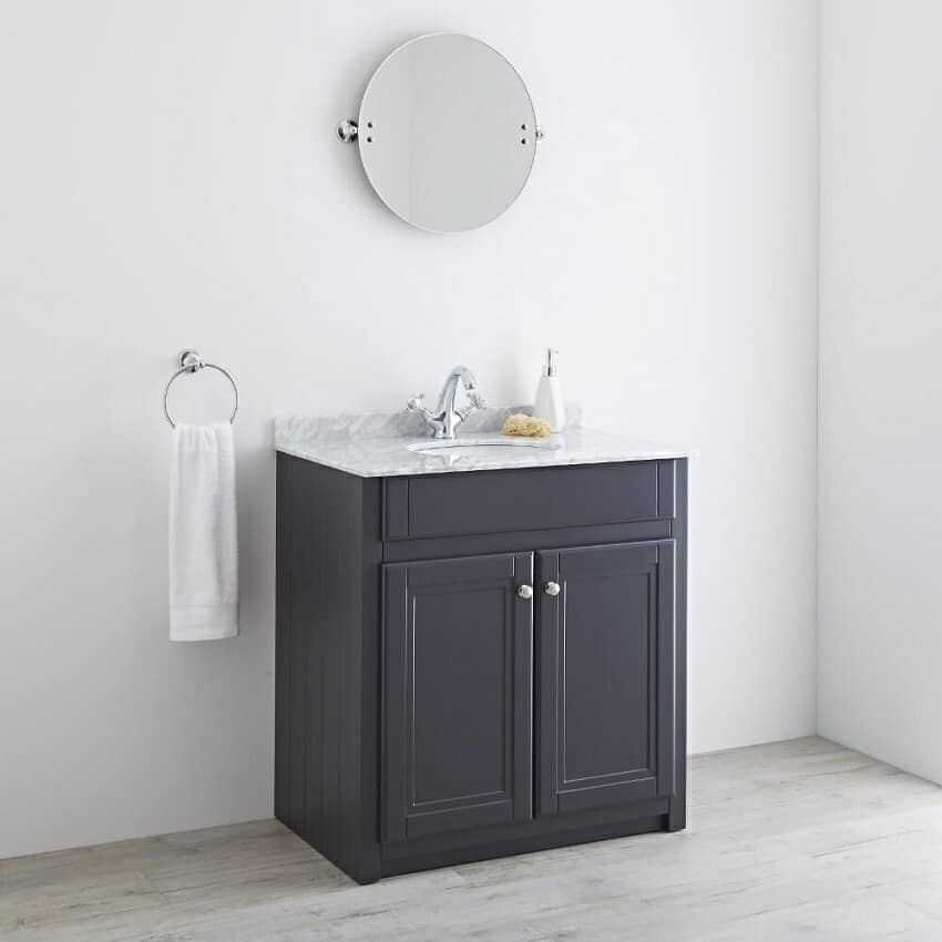Anthracite traditional vanity unit with marble top and mixer tap