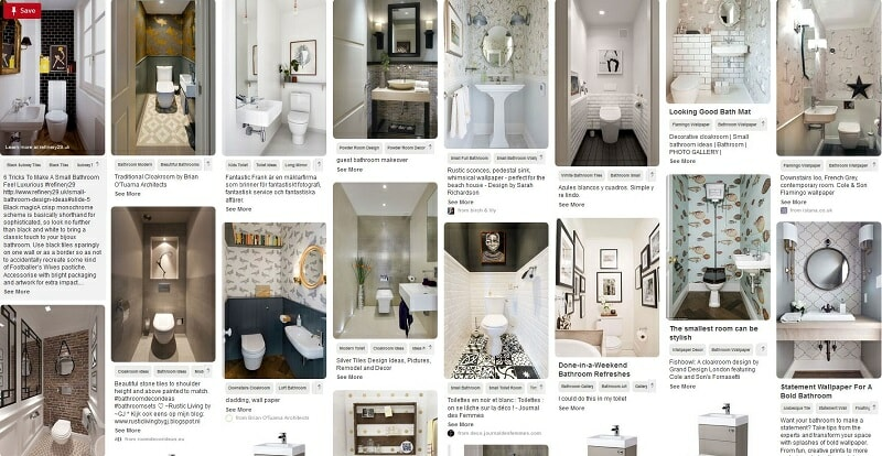 Pinterest page with cloakroom ideas