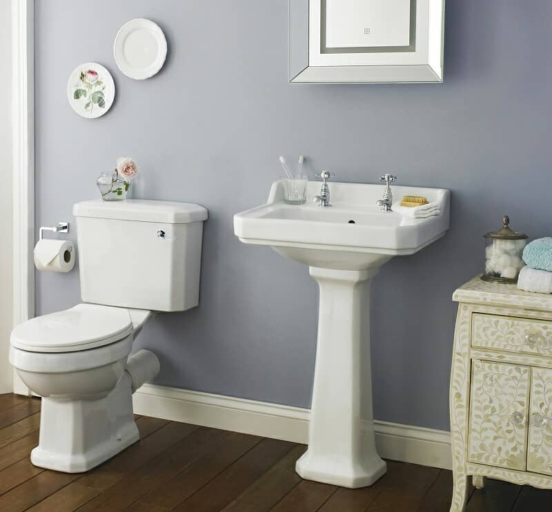 traditional basin and toilet