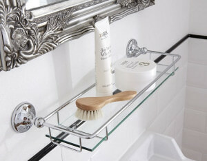 traditional glass bathroom shelf