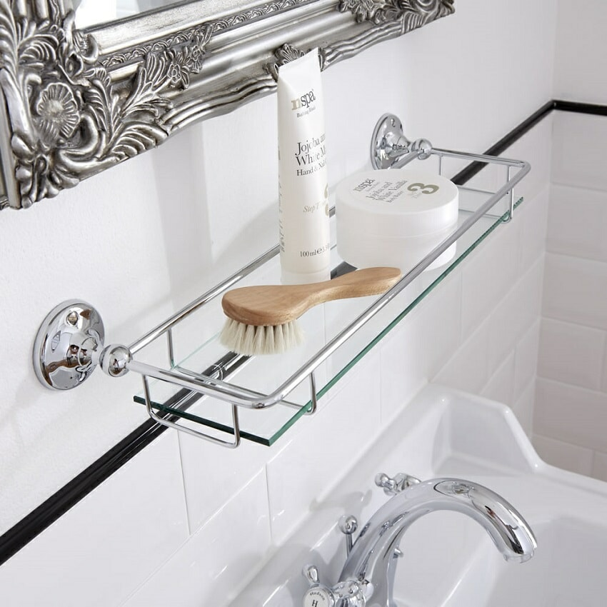 traditional glass bathroom shelf with chrome fixings shown with accessories