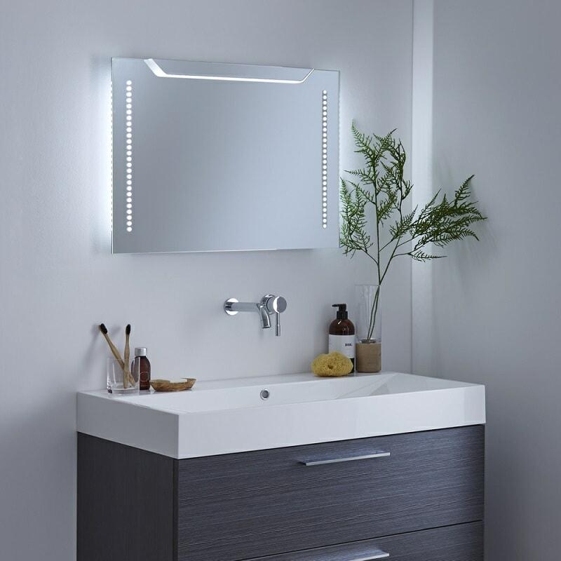 LED lit bathroom mirror