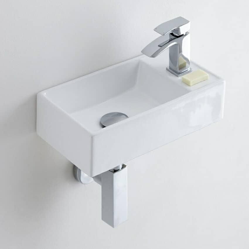 Very small rectangular cloakroom basin with mono tap
