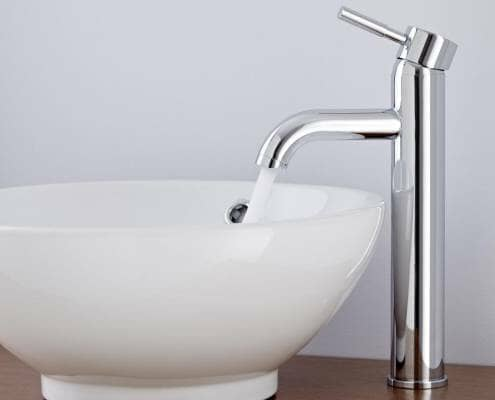 high rise basin tap and countertop basin