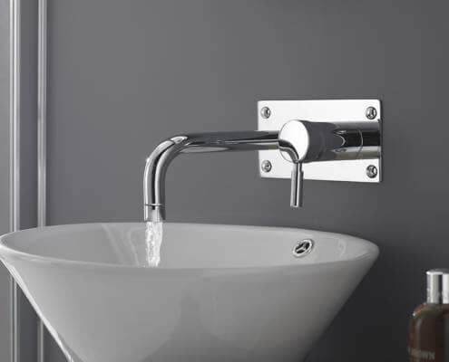 wall mounted tap with countertop basin