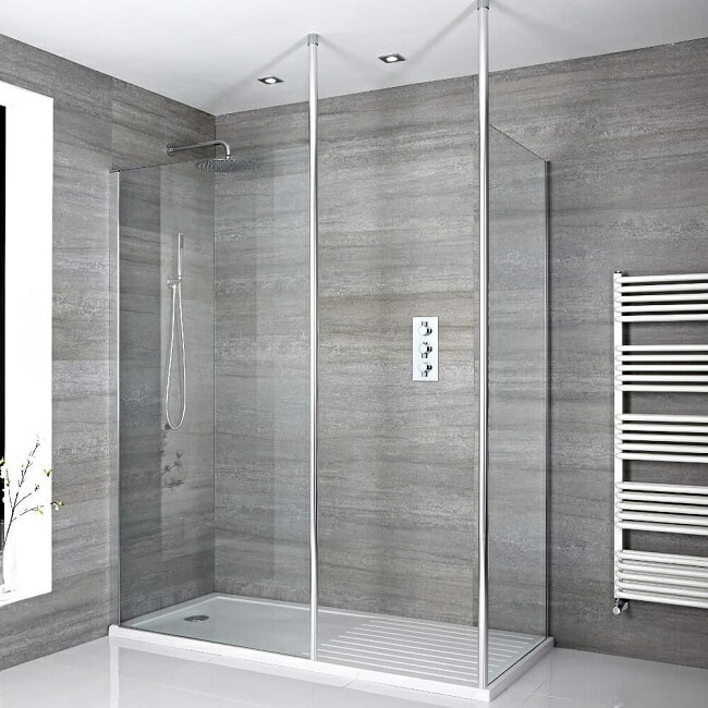corner walk in shower with floor to ceiling shower screen supports