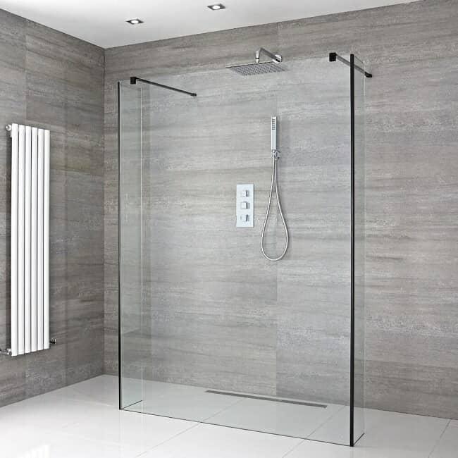 Frameless wet room shower with black corners