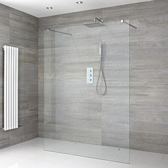 wet room with floating glass screen