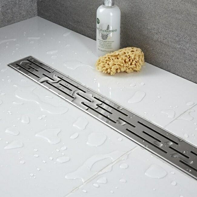 Chrome wet room shower drain
