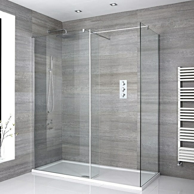 walk in shower with white shower tray and single entry