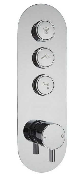 push button shower valve with 3 buttons and temperature control